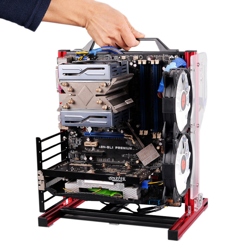 Portable Vertical PC Test Bench Open Frame Computer  Stand CaseDIY Mod Motherboard ATX M-ATX ITX Chassic Hand Held Graphics Card
