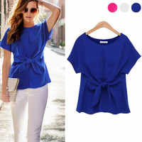 Fashion Ladies Short Sleeve Sexy Blouse Lace-up Chiffon Solid Color Shirt Elegant Ladies Blouses Women Tops Blusas Feminino