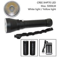 Super Helligkeit CREE XHP70 LED Gelb/Weiß Licht 4000 Lumen Tauchen Taschenlampe Taktische 26650 Taschenlampe Unterwasser 100 Mt Wasserdicht