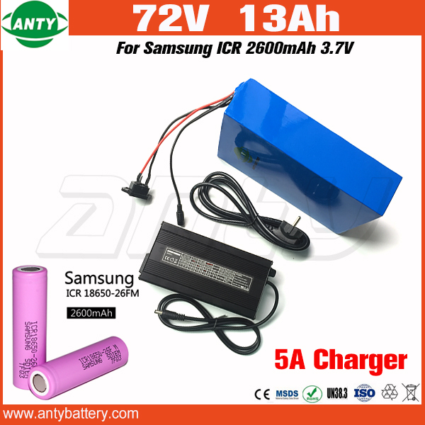 Scooter Lithium Battery 72v 13Ah 1500w with 84v 5A Charger 30A BMS for Samsung 18650 Cell E Bike Battery 72v Free Shipping us eu free customs duty lithium 48v 1000w e bike battery 48v 17ah for original panasonic 18650 cell with 5a charger 30a bms
