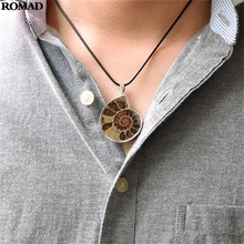 Shell Pendant Necklace Petrochemical Natural Coloured Snail Fossils Necklaces Sea Nautilus Ammonite A30
