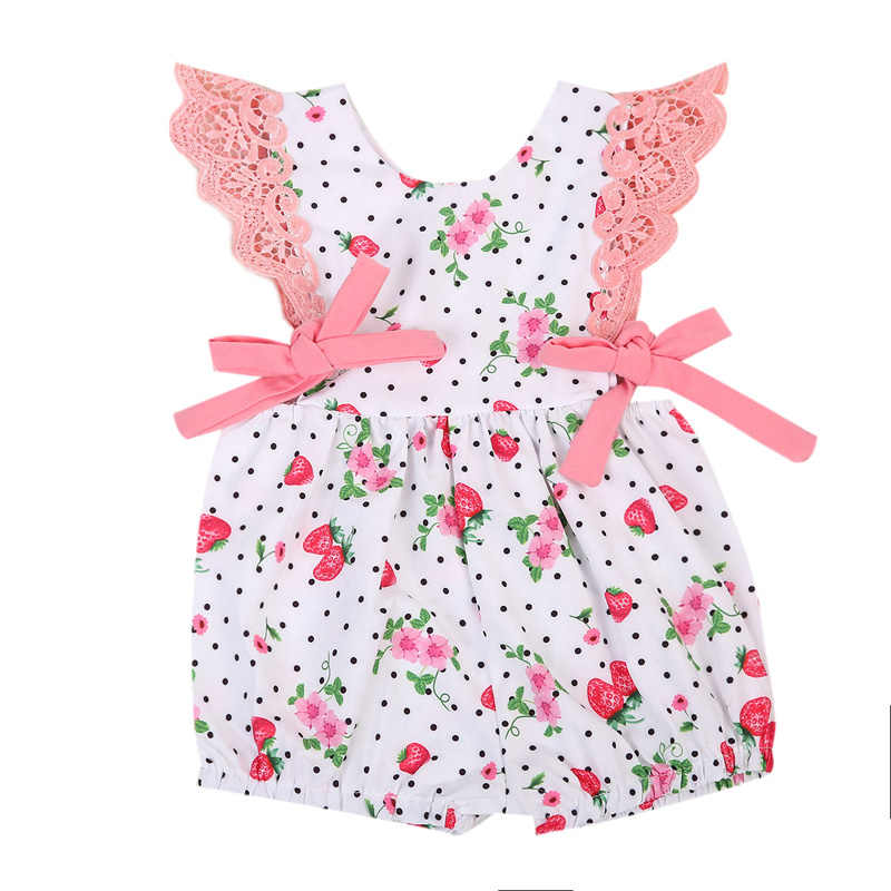 New Cute Kids Baby Girls Dresses Off Shoulder O-Neck Polka Dot Floral Outfits Clothes Sunsuit Clothes
