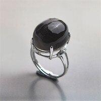 Черное овальное кольцо натуральный черный лунный камень Стразы каменные кольца 925 пробы серебряные ювелирные изделия Регулируемые кольца