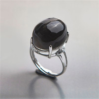 Black Oval Ring Natural Black Moonstone Crystal Gems Stone Rings 925 Sterling Silver Jewelry Adjustable Rings For Men