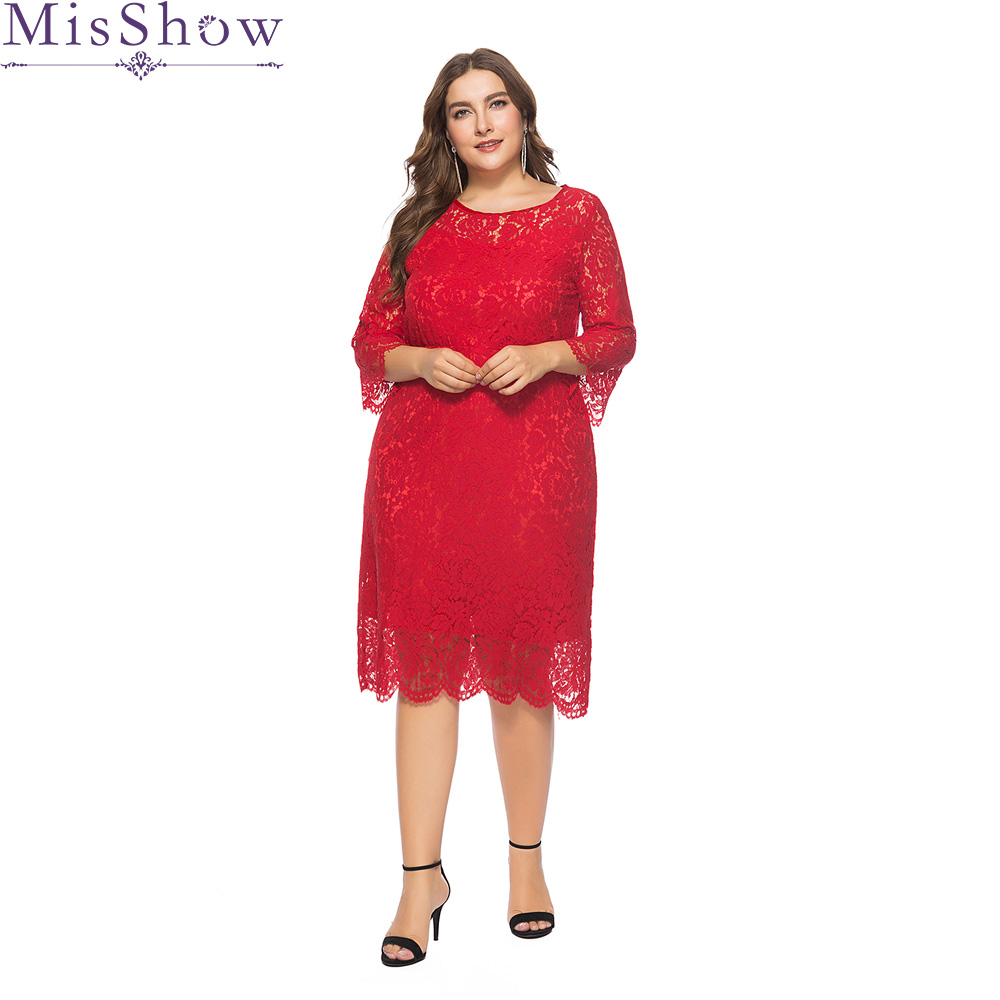 Detail Feedback Questions about Cheap Red Plus Size Evenig Dresses Elegant  Scoop Neck Lace Short Formal Evening dress Gown Party Dress Robe De Soiree  2019 ... 4b7460cf74c4