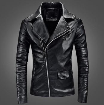 Men casual leather clothes Casual Zipper PU Leather Jacket Motorcycle Leather Jacket Men Slim Fit Mens Jackets And Coats