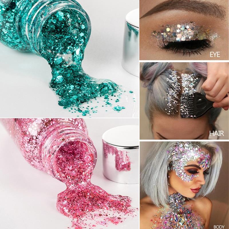 Chunky Glitter Sequin Body Glitter Gel Pigment Shimmer Festival Body Face Glitter Makeup Sparkling Eyeshadow Mermaid
