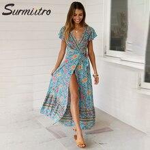 Surmiitro весеннее сексуальное летнее платье с коротким рукавом и глубоким v-образным вырезом, Женская туника, пляжный сарафан, Длинные вечерние платья макси для женщин