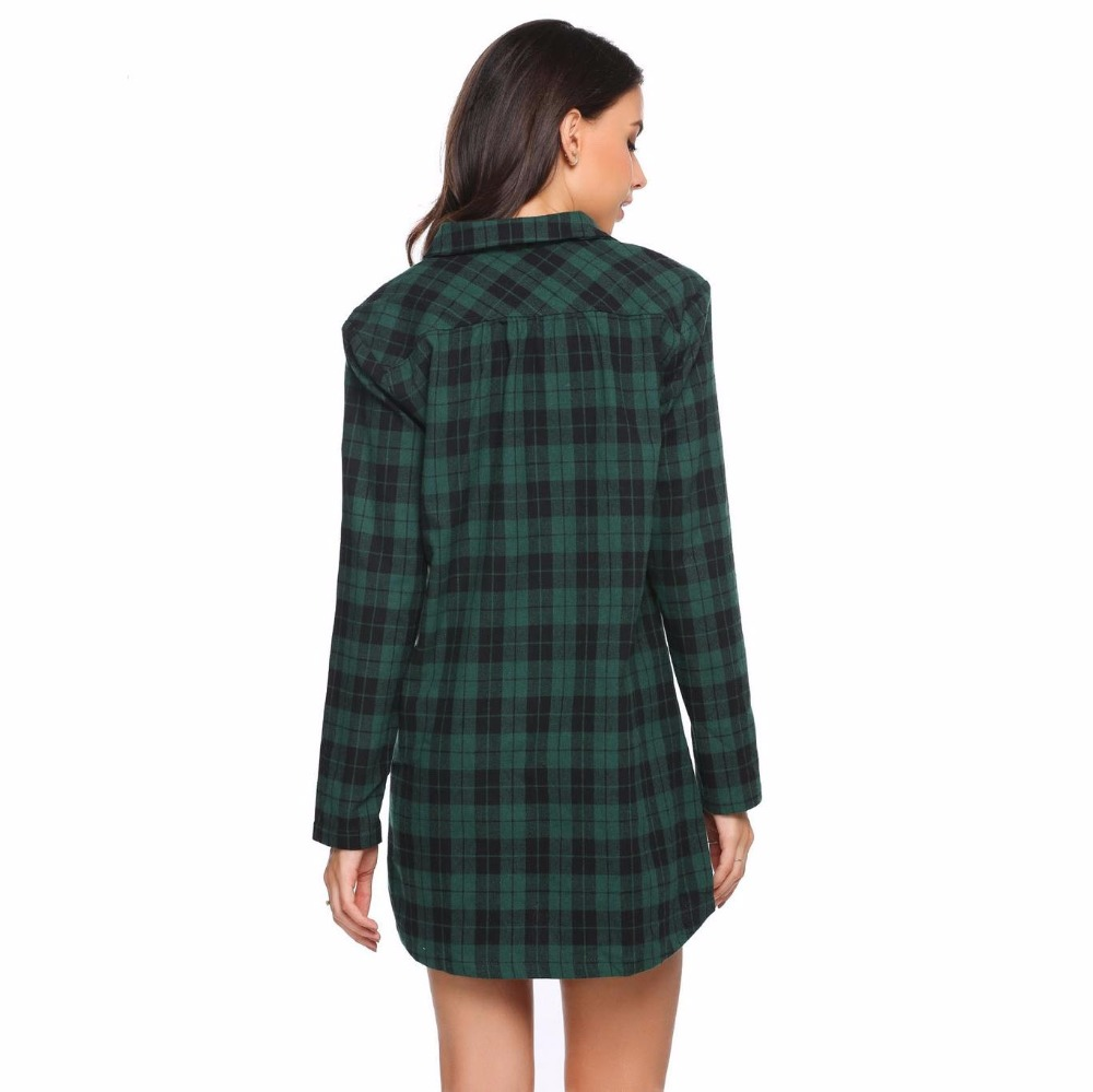 100% Cotton Plaid Nightshirt Nightgown Women Sleepshirt With Pocket Long  Sleeve Regular Sleepdress Night Dress Lady Night Clothe-in Nightgowns    Sleepshirts ... 91f202193