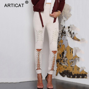 Image 4 - Calças de camurça para outono e inverno, calça de camurça feminina skinny com cintura alta, casual