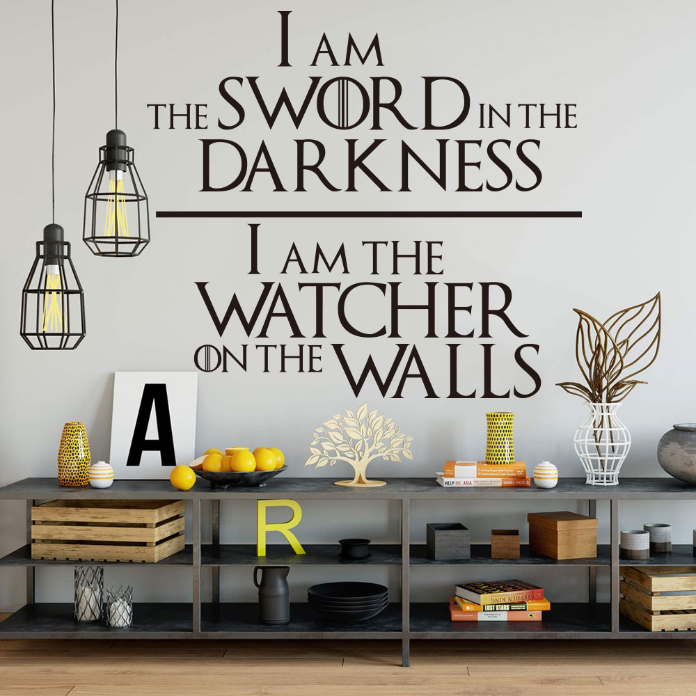 Game of Thrones  Knights Watch Oath Quote Wall Decal Nursery Kids Room Game of Thrones Sword Inspirational Quote Wall Sticker  (3)