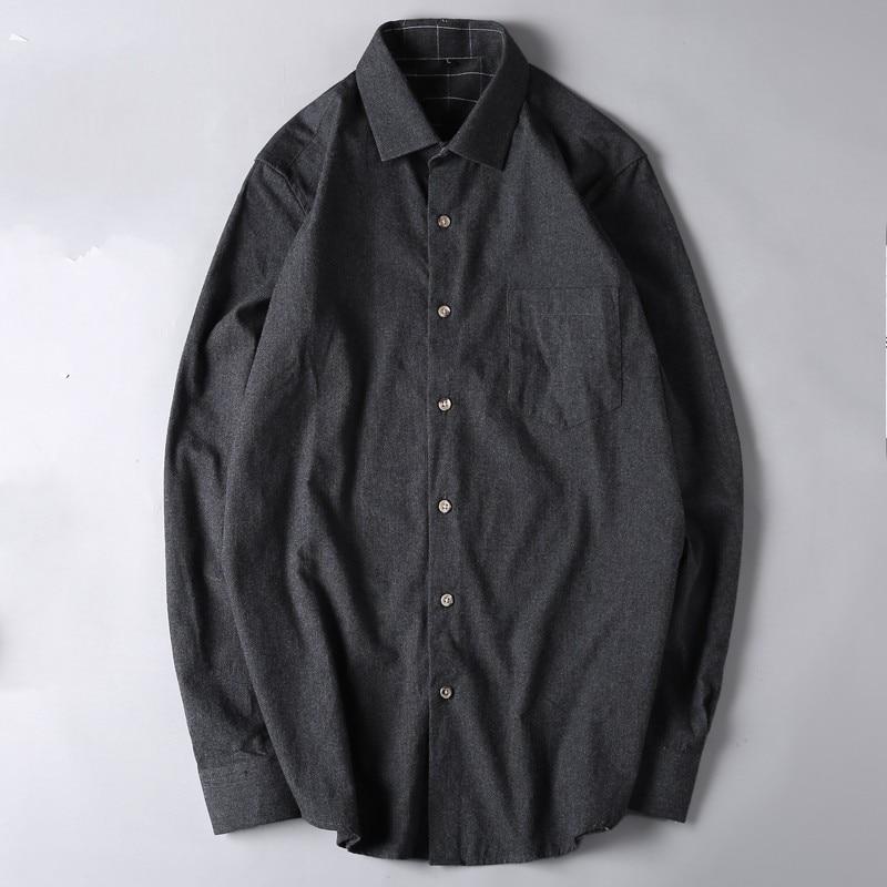 Black Blue Spring Plus Size 6xl 7xl Men 100% Cotton Shirts Military Men Long-sleeve Single Solid Wool Shirt Turn-down Collar