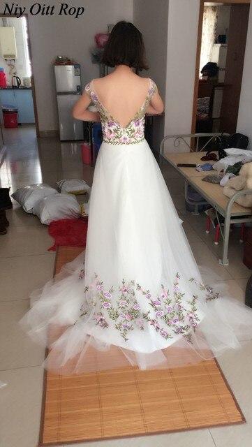 Online Shop 2017 Cap Sleeve A Line 3D Floral Embroidered Wedding ...
