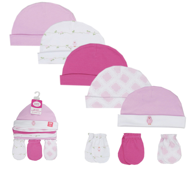Newborn's Cute Cotton Hats and Mittens