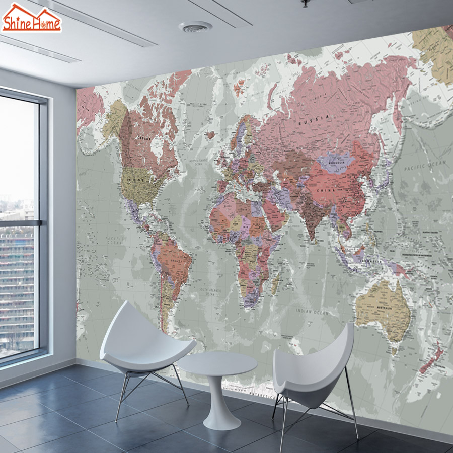 ShineHome-Two Styles Custom 3D Photo Wallpaper World Map Painting Wallpapers for 3 d Living Room Sofa TV Background Wall Paper shinehome abstract brick black white polygons background wallpapers rolls 3 d wallpaper for livingroom walls 3d room paper roll