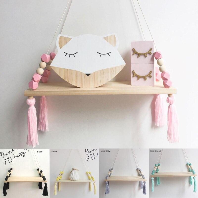 1 Pcs Wall Hanging Decor Swing Shelf Decorative Shelves Room Storage Organization Creative Kids Room Wooden Beads Tassel