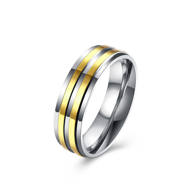 345c4bdd4 Gold Stripe Statement Stainless Steel Wedding Rings For Men Vintage Ring  For Boy Fashion Gift For
