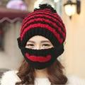 Winter Striped Knit Face Mask hats Beanies Thicken Crochet Beard Unisex Balaclava Bonnets Hat for Women