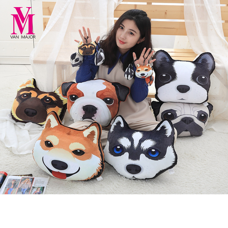 Creative 3D God Padding Dog Plush Toys Second Hoop Doll Husky Pillow Valentine's Day Birthday image