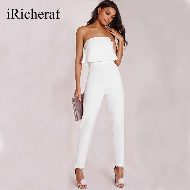 1bfcd632d8a6 Elegant White Jumpsuits Women Sleeveless Ruffles Slash Neck Solid Sexy  Strapless Slim Solid Overalls Full Length