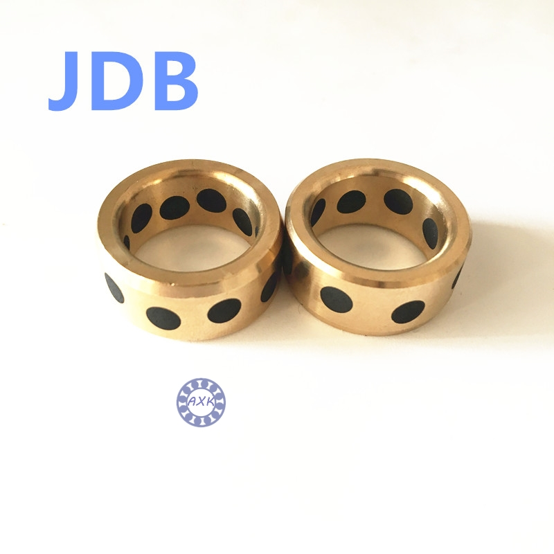 Graphite Lubricating Brass Bearing Bushing Sleeve Oilless JDB223215 JDB223210 JDB223225 JDB223220 JDB223235 JDB253315 JDB253320 jdb 406080 copper sleeve the same size of lm12 linear solid inlay graphite self lubricating bearing