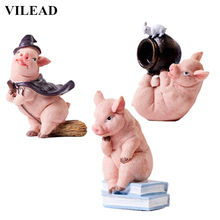 VILEAD 10 Styles Resin Cute Pig Figurines Cartoon Animal Model Ornament Pigs Phone Pen Holder for Home Decor Children Kids Gifts