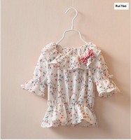 Y 1119928 New 2015 Summer Fashion Todder Girl Top T Shirs Floral Tee O Neck Lantern