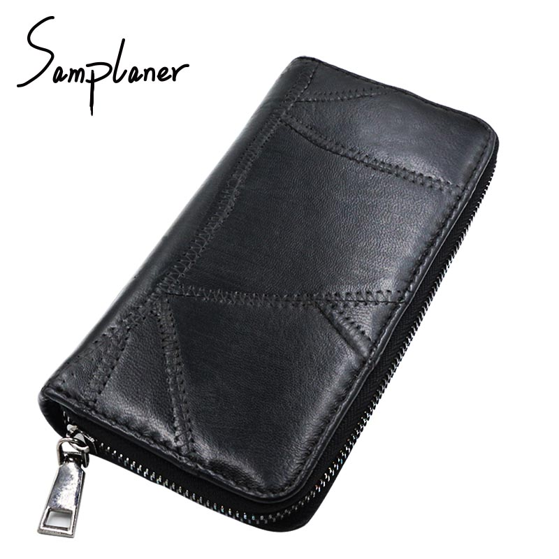 Vintage Genuine Leather Long Women Wallets Sheepskin Patchwork Soft Natural Lady Leather W