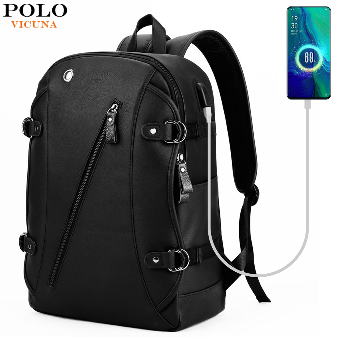 VICUNA POLO Brand Soft Leather USB Charging Business Men Backpack With Headphone Hole Casual Travel Man