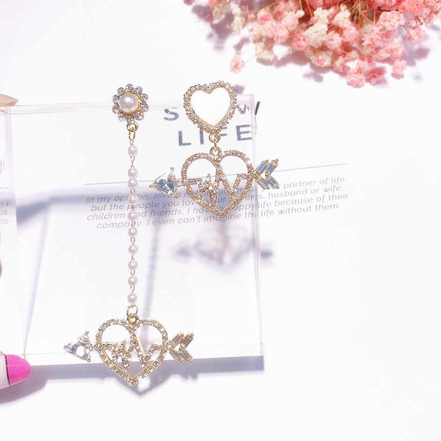 Coreano dulce chica AB asimétrica circón amor gota pendientes personalidad largo perla pendientes mujeres moda joyería Accesorios