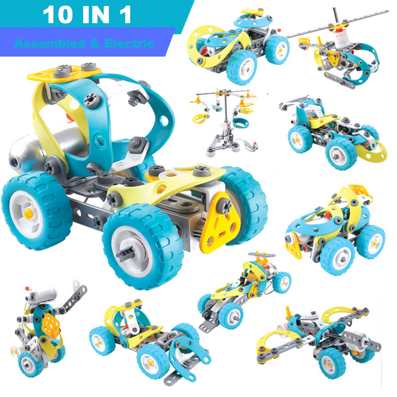 10 In 1 Assembly Dismantle Puzzle Electric Car Model Building Blocks Software Nut Combination Toy for Children Early Education three s company ru bun lock children puzzle toy building blocks