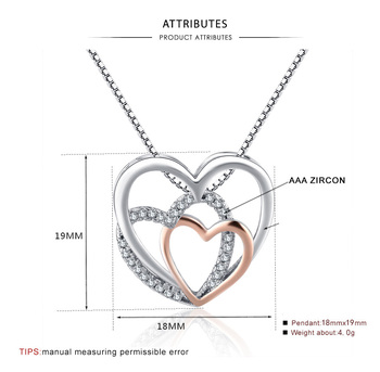 Beautiful Sterling silver three Hearts Necklaces  5