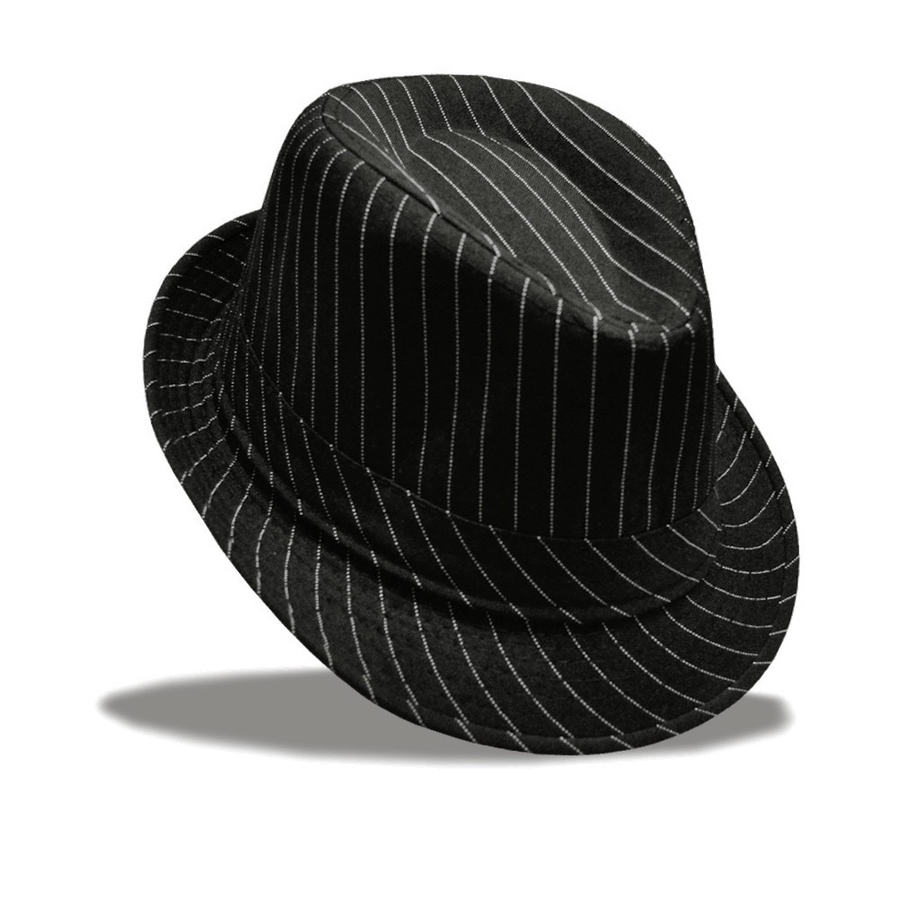 b02b589587c Unisex Women men Striped Topper Fedora hat Trilby Gangster Cap ...