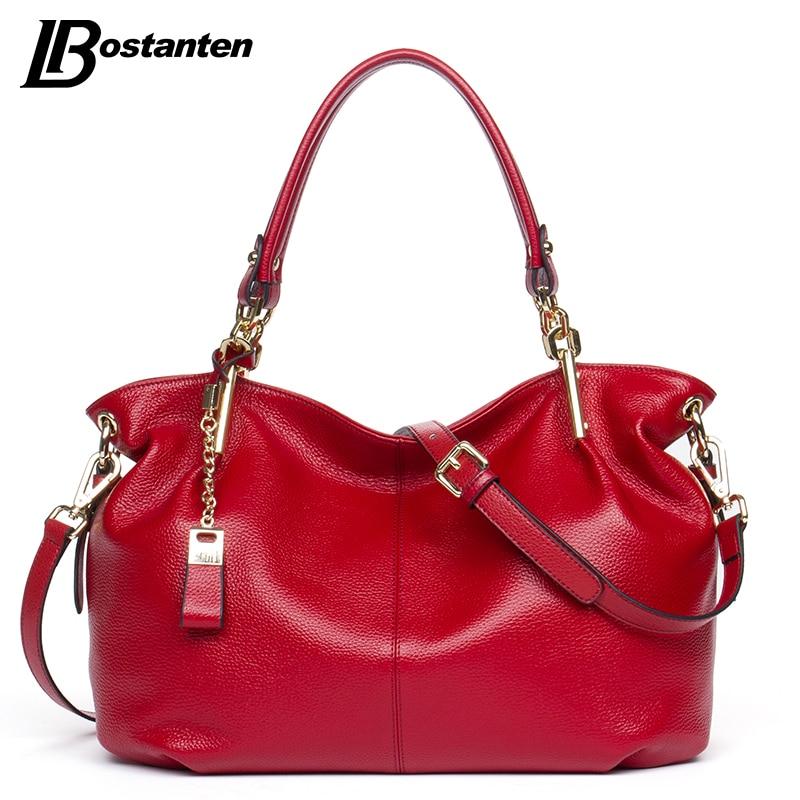 BOSTANTEN Casual Tote Women Shoulder Bags Cow Genuine Leather Women Bags Designer Brand Female Handbags Hobo Crossbody Bags Sac цена