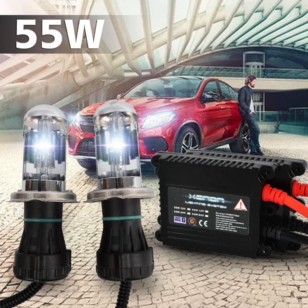 Taitian 2Pc 55W Hid Xenon ballast Light auto h4 lamp hi lo bi-xenon headlight 4300K 6000K 8000K 12V 9004 9007 h4 55W car lamps 2pcs 9007 4 12v 55w hid bi xenon bulbs light replacement auto headlight lamps