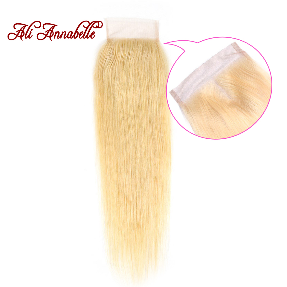 Malaysian Human Hair Straight 10-18 Inch 4*4 Lace Closure 613 Blonde Swiss Lace Remy Hair with Middle/Free Part ALI ANNABELLE image