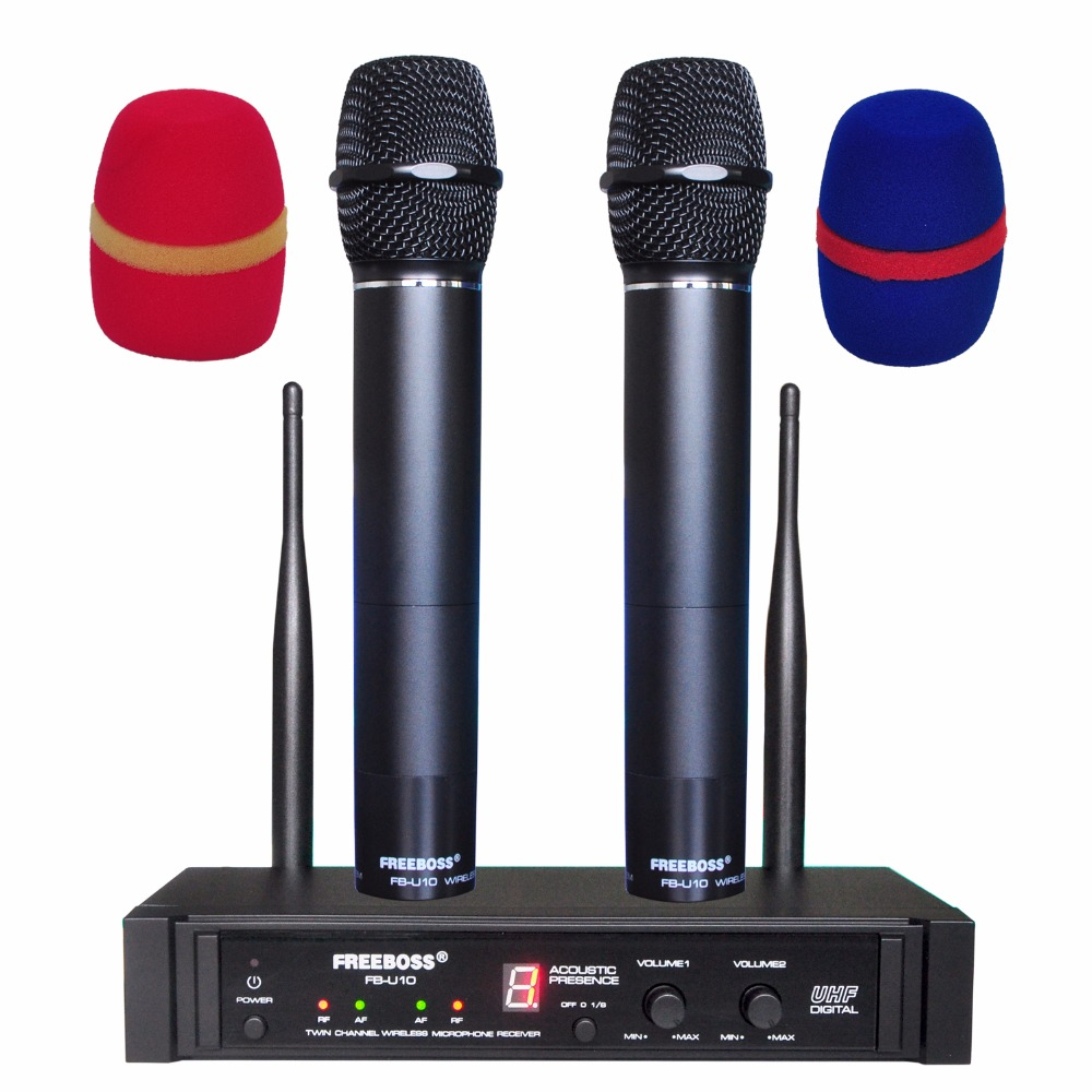 FREEBOSS FB-U10 2 Way Black Silver Golden Metal Handheld Wireless Microphone Party Karaoke Microphone System freeboss kv 22 vhf 2 handheld wireless microphone dynamic capsule family party mixed output wireless microphone