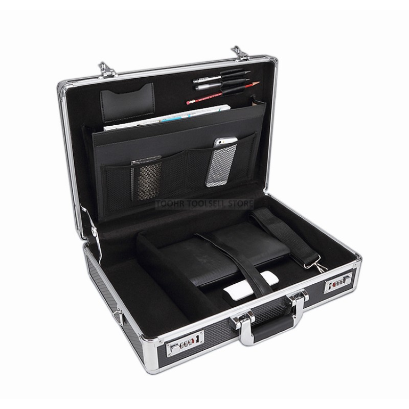 Aluminum Tool Case Suitcase Toolbox Password Box File Box Impact Resistant Safety Case Equipment Camera Case 375x300x95mm