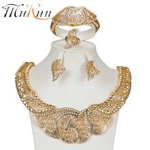 MUKUN Fashion Exquisite African Dubai jewelry sets luxury gold Color big Nigeria bridal bead wedding Jewelry Women costume