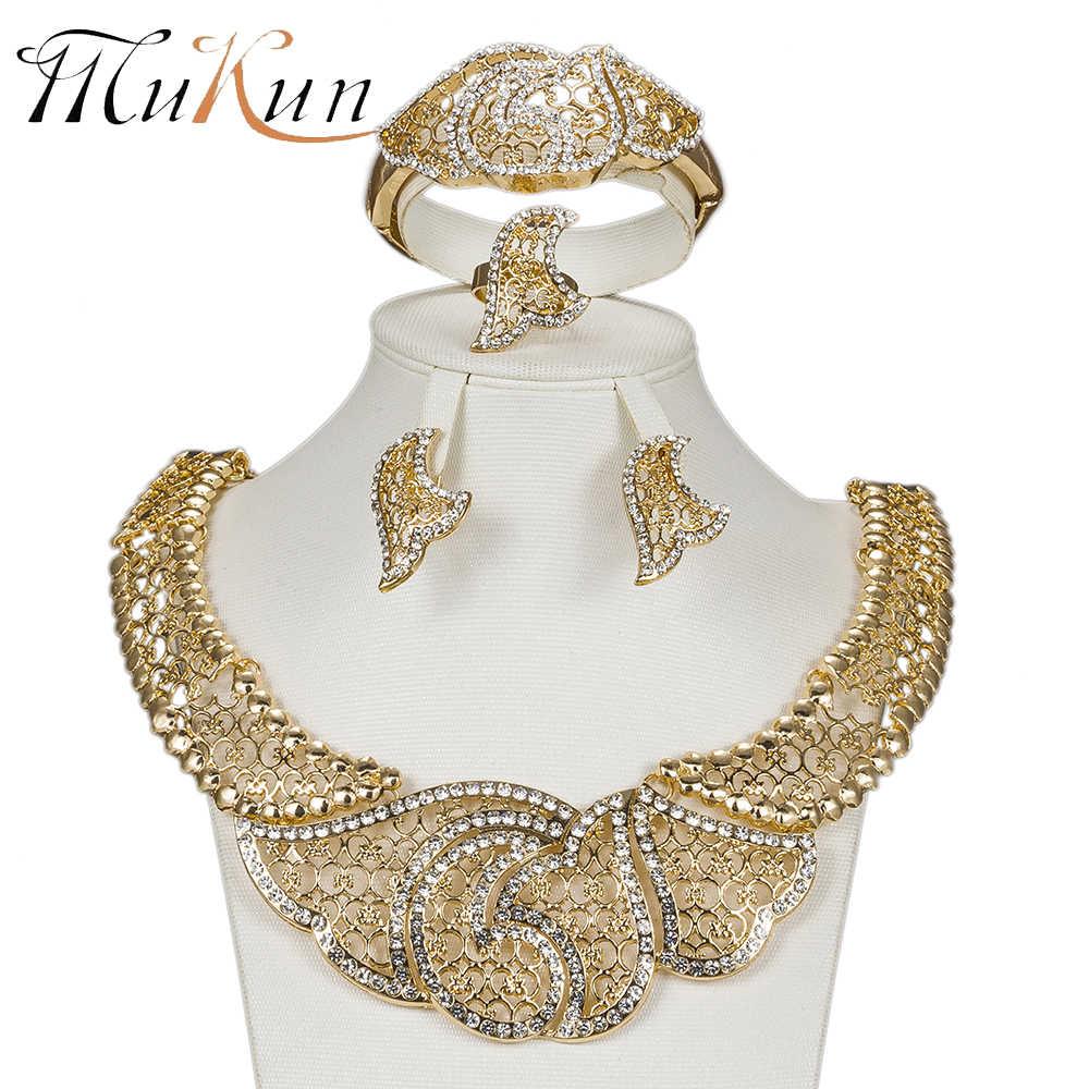 MUKUN Mode Exquisite African Dubai schmuck sets luxus gold Farbe big Nigeria braut perle hochzeit Schmuck sets Frauen kostüm
