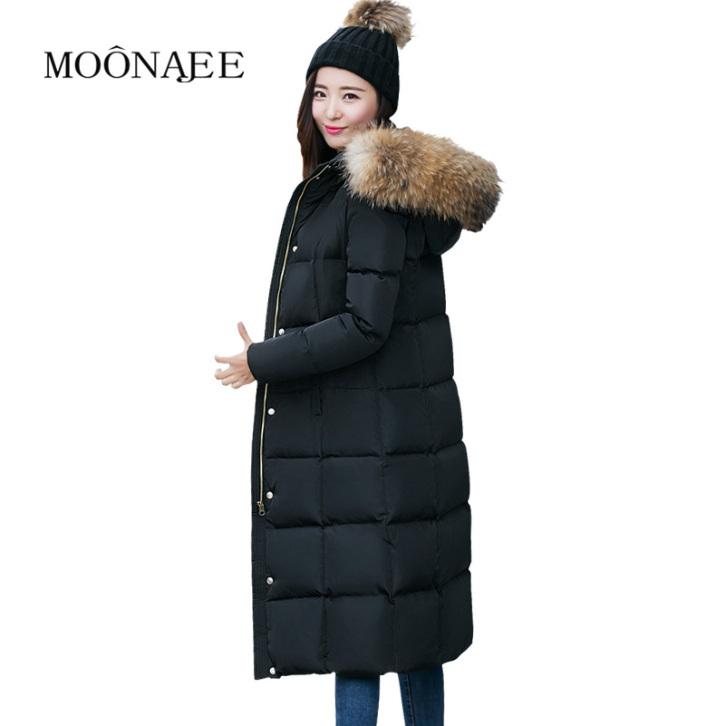 Ultra Long thicken Winter   Down     Coats   100% Luxurious Large Raccoon Fur Hooded   Down   Jackets for women Parkas Snow Outerwear YR12