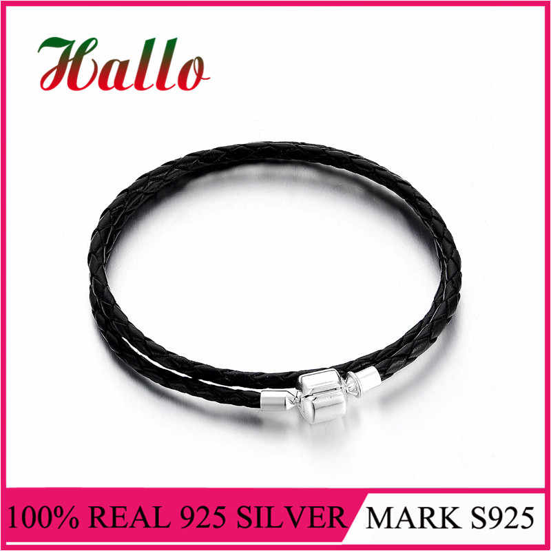 925 Silver Double Black Leather Bracelets fits charms silver 925 original charms beads for jewelry making diy accessories