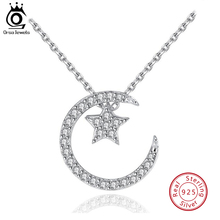 ORSA JEWELS 925 Sterling Silver Women Pendant Necklace Moon & Star With AAA Cubic Zircon Romantic Necklace S925 Jewelry OSN06 стоимость