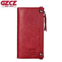 GZCZ Genuine Leather Long Wallet Women Luxury Brand Woman Walet Female Money Handy Vallet Portomonee Ladies