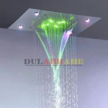 Современный Дождь и водопад душевая головка 100V~ 240V переменный ток Красочный светодиодный верхний душевой набор для ванной комнаты L-50X36P