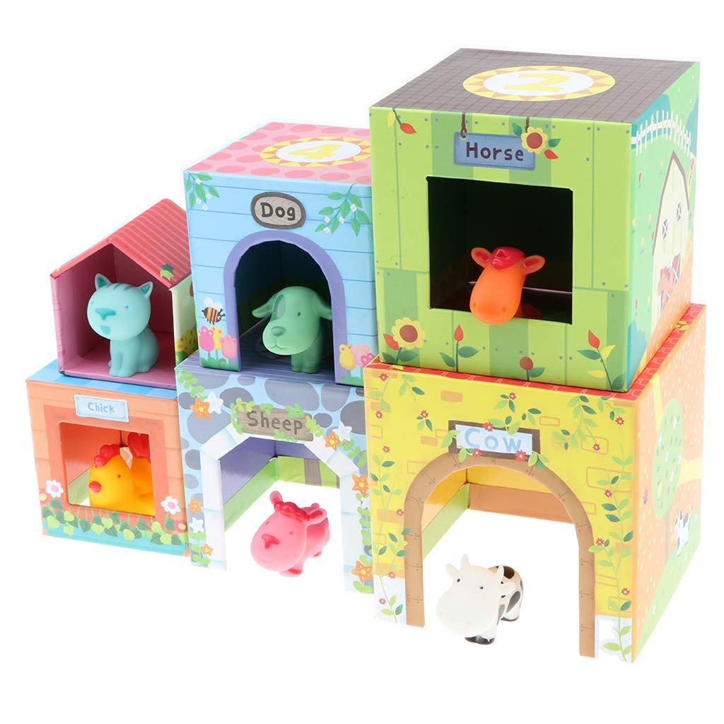 12 pièces Animal maison tri correspondant jeu empilable Cube début d'apprentissage jouet éducatif cadeau d'anniversaire pour bébé enfants bambin