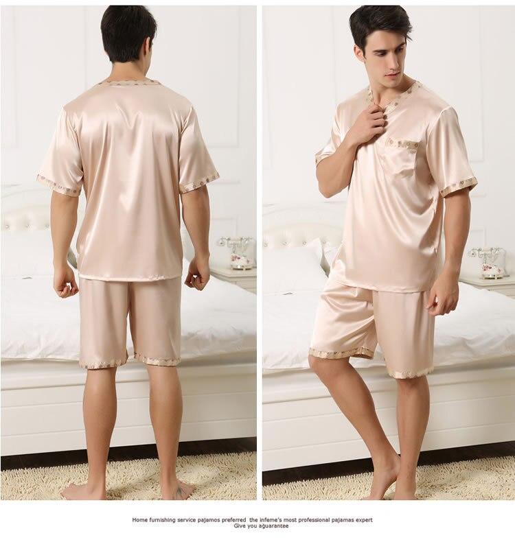 Pijama de seda masculino plus size, 2