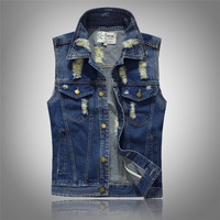 Fashion Male Denim Vest Men Hole Sleeveless Jean Jacket Ripped Plus Size Waistcoat Pockets Free Shipping