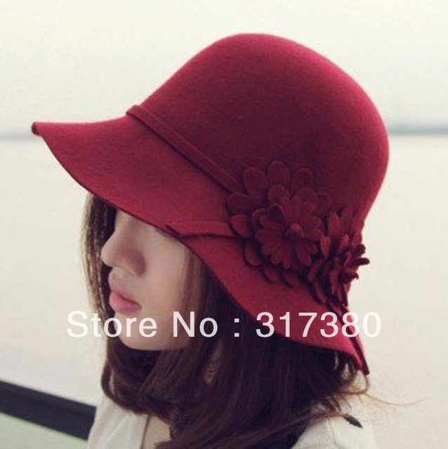 8pcs/Lot 2017 NEW Women Flower Wool Cloche Hats Winter Bucket Hat Fashion Ladies Autumn Woolen Caps Womens Spring Felt Dome Cap