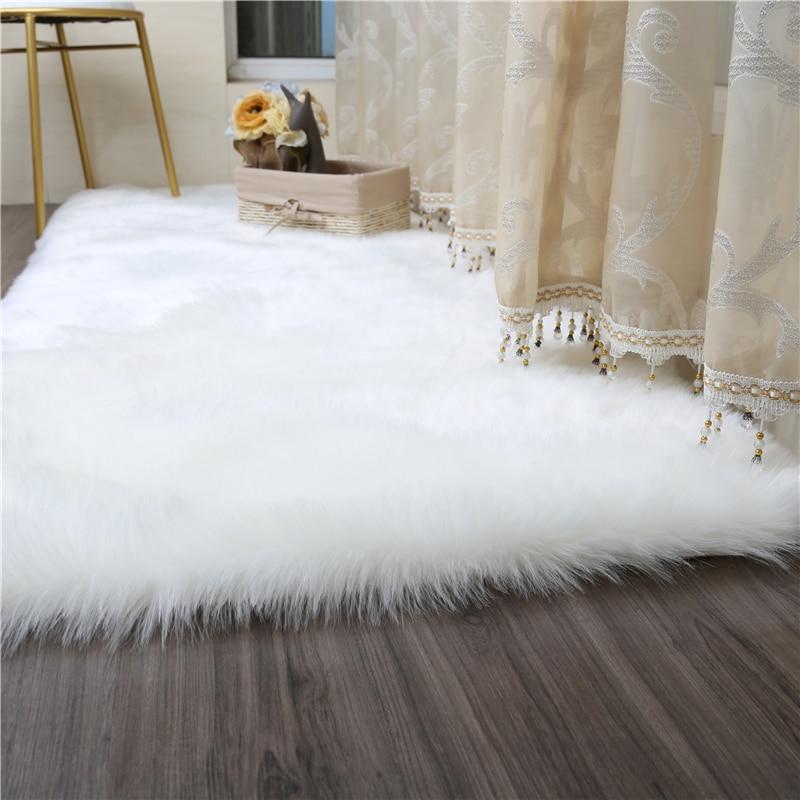 Living Room Bedroom Carpet Sofa Antiskid Soft Pure White Silk Wool